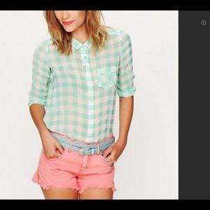 Free People Sheer Plaid Green White Button Down S
